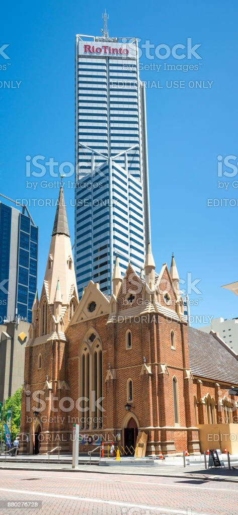 Wesley Uniting Church with RioTinto building on the background in Perth City stock photo