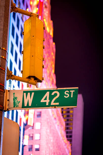 West 42nd St. Street sign at Times Square stock photo