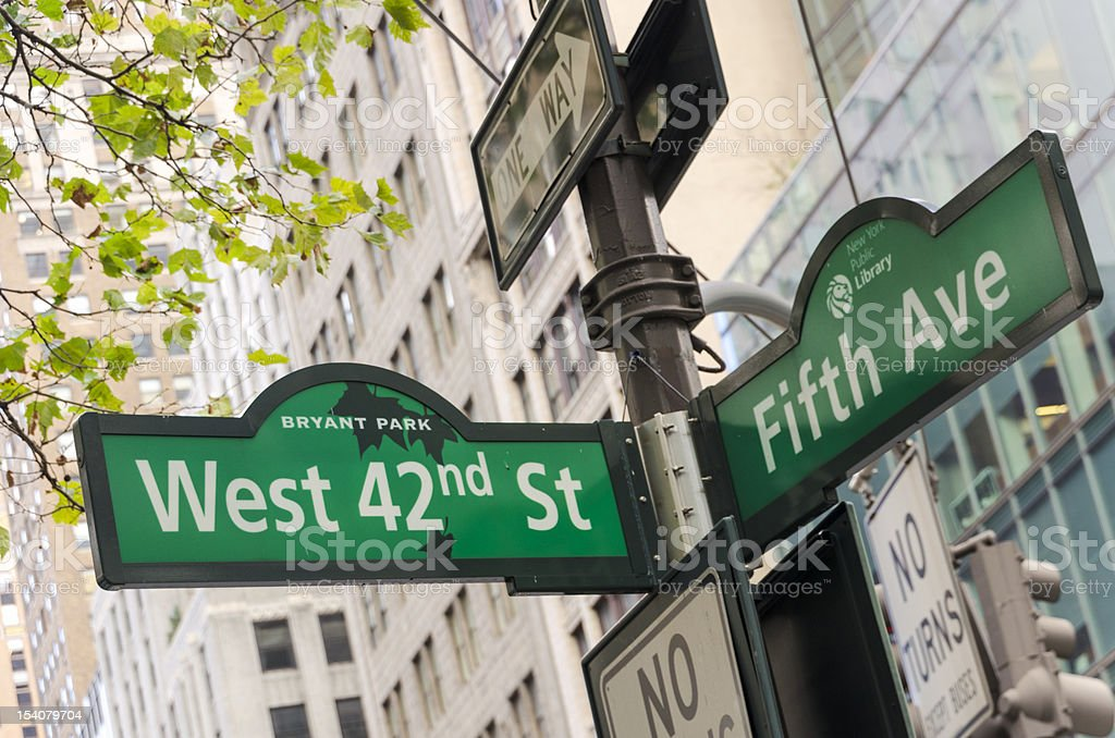 West 42nd Street & 5th Avenue royalty-free stock photo