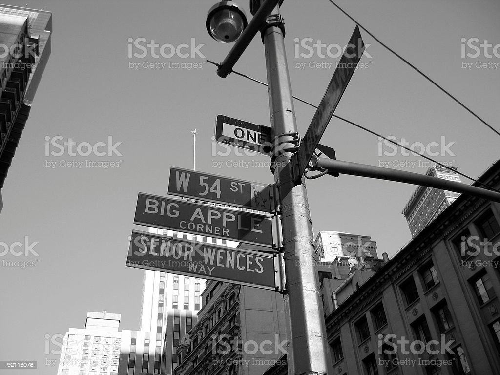 west 54th street and broadway, nyc stock photo