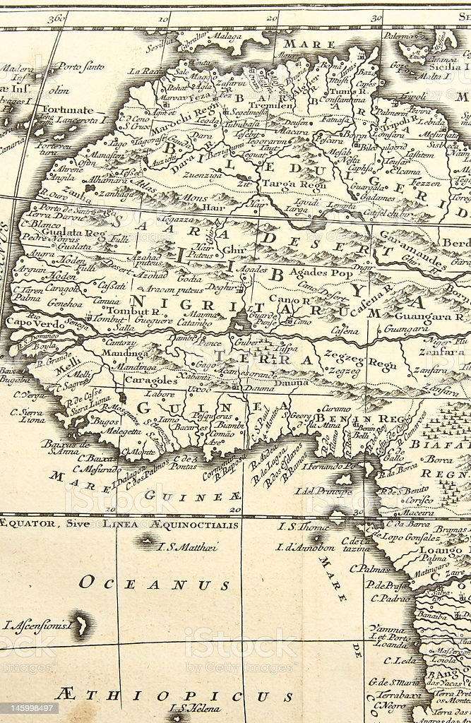 West Africa. Old map stock photo