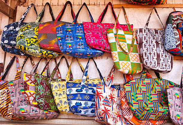 west african bags - kente cloth stock photos and pictures