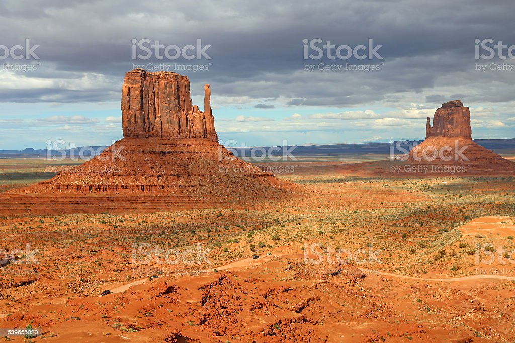 West and East Mitten Butte stock photo