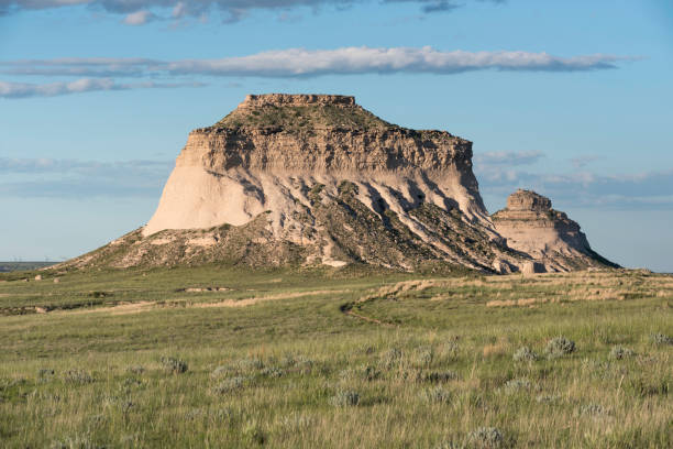 West and East Pawnee Butte in North Eastern Colorado stock photo