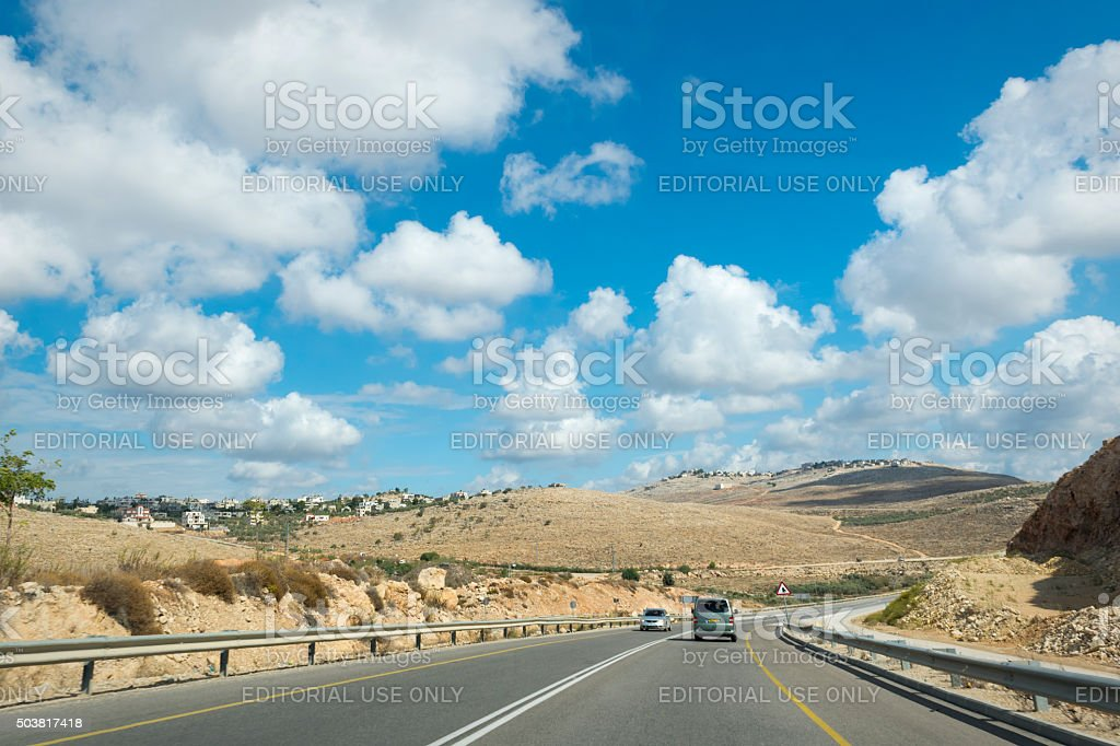 West Bank road and landscape stock photo