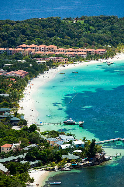 West Bay Beach Aerial  roatan stock pictures, royalty-free photos & images