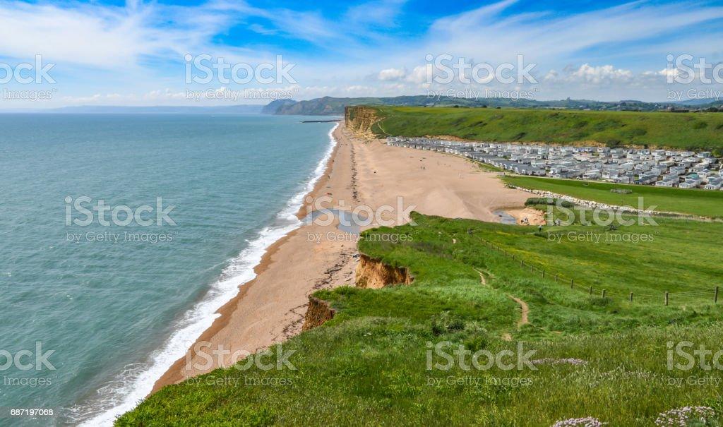 West Bay beach and caravan park in Dorset, England stock photo