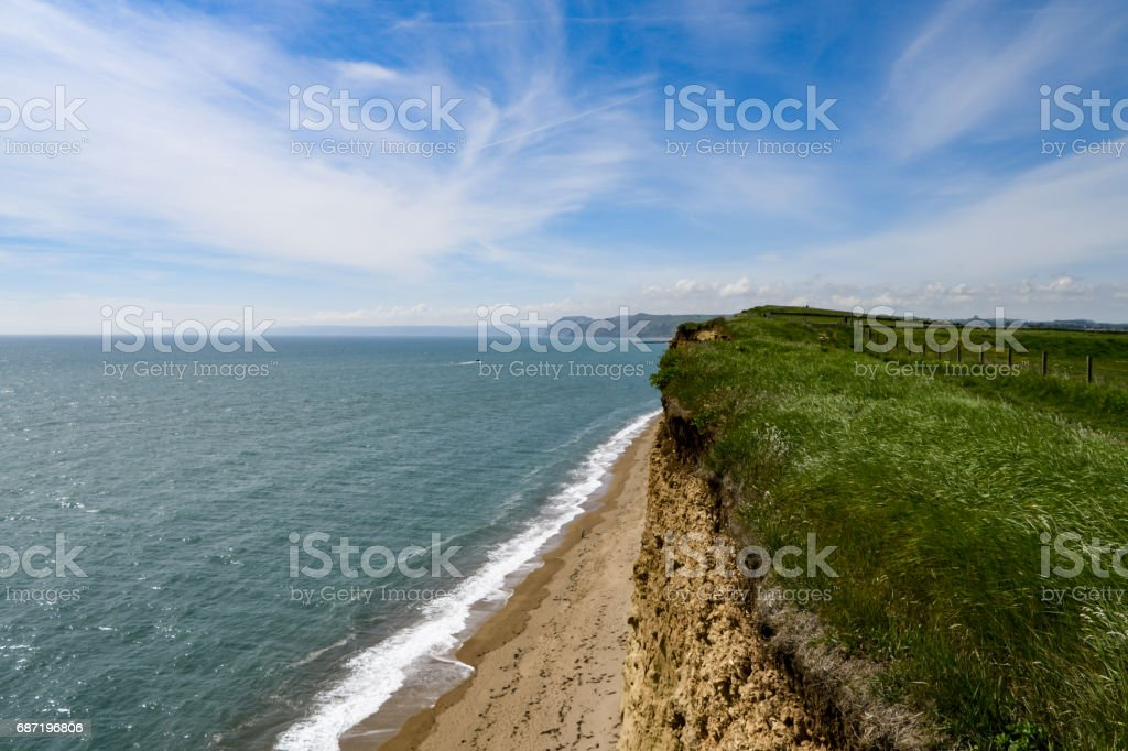 West Bay cliff in Dorset, England stock photo