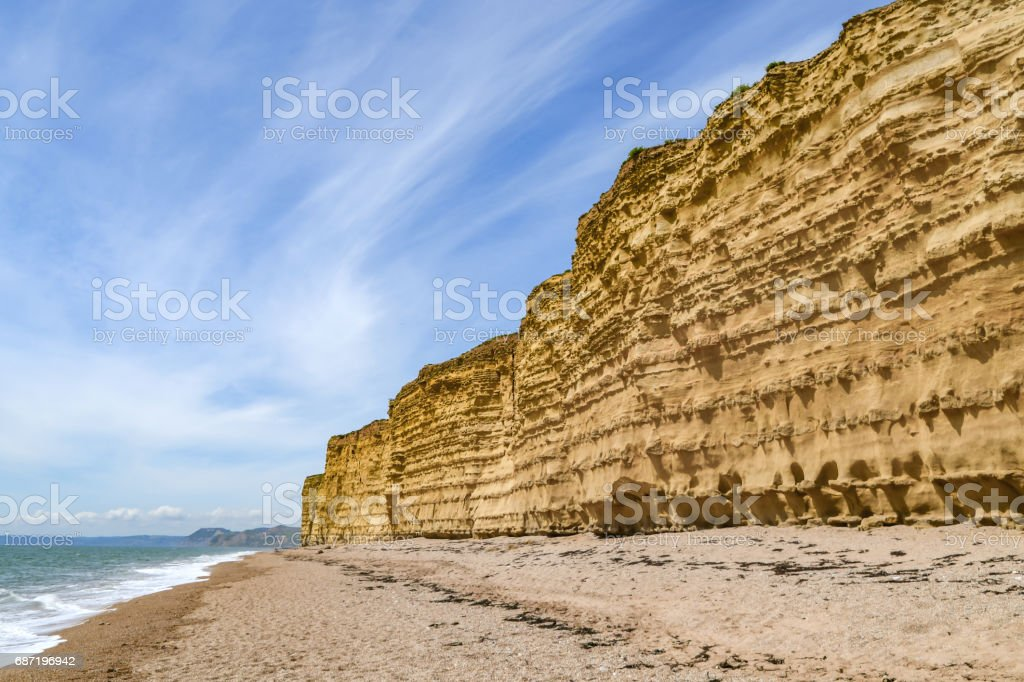 West Bay cliffs and coastline in Dorset, England stock photo