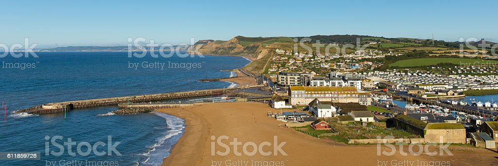 West Bay Dorset uk Jurassic coast panoramic view stock photo