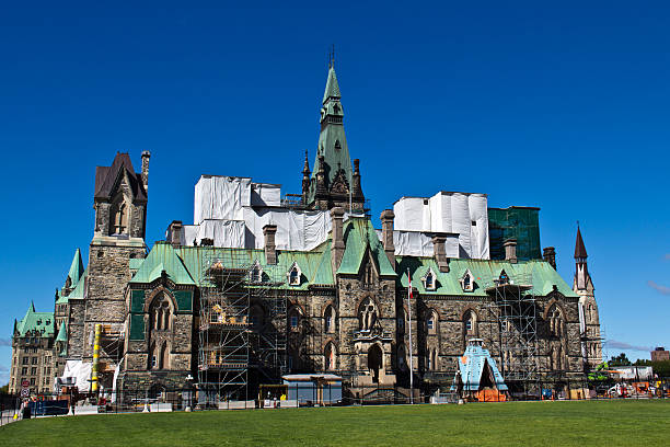 West Block of Canadian Parliament Hill under restoration stock photo