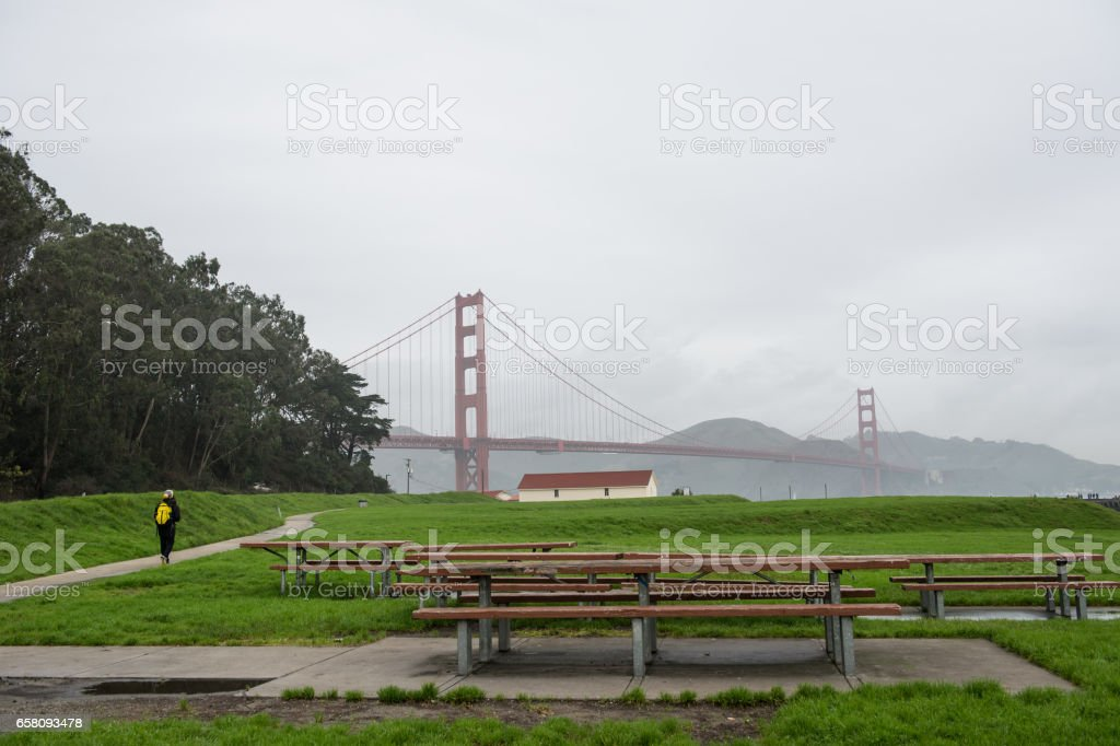 West Bluff Picnic Area Golden Gate Bridge royalty-free stock photo