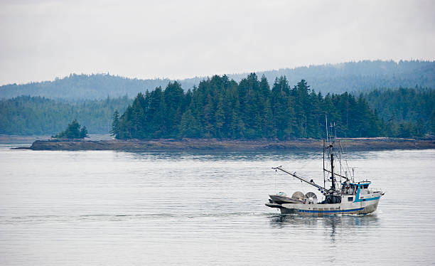 West Coast B.C. commercial fishing boat stock photo