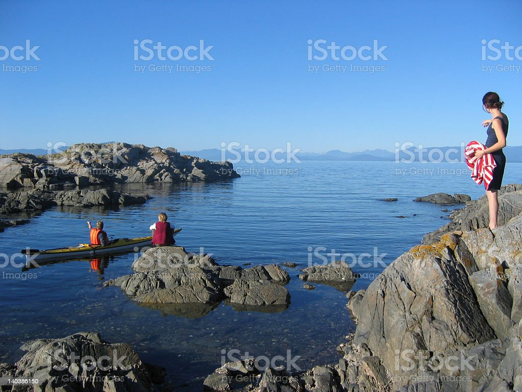 West Coast Kayakers in Tidal Pool stock photo