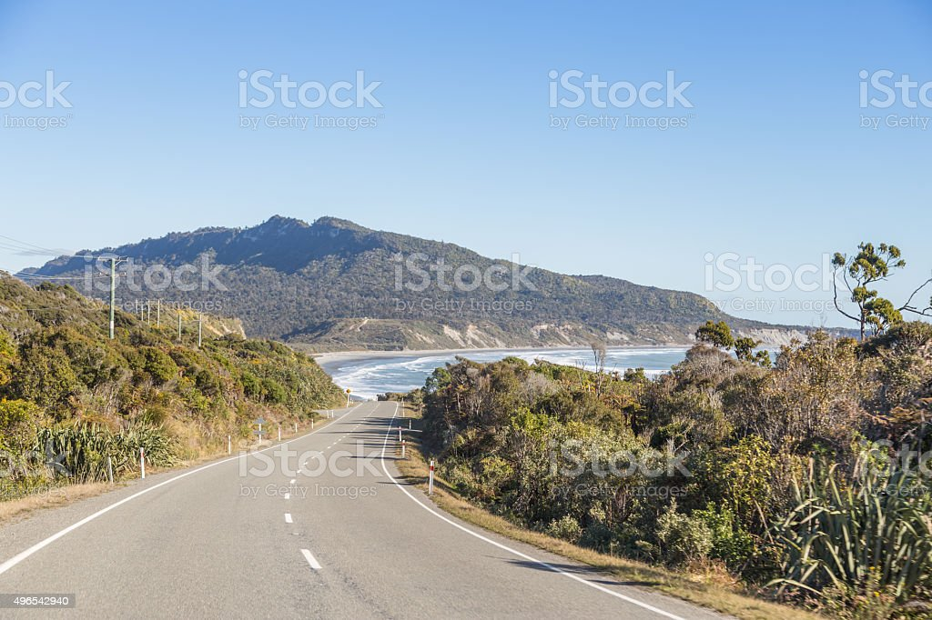 West Coast road in New Zealand stock photo