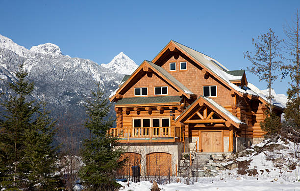a west coast wooden house during winter in mountains - kütük ev stok fotoğraflar ve resimler