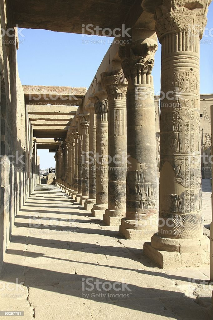 West Colonnade, Temple of Isis, Philae, Aswan, Egypt stock photo