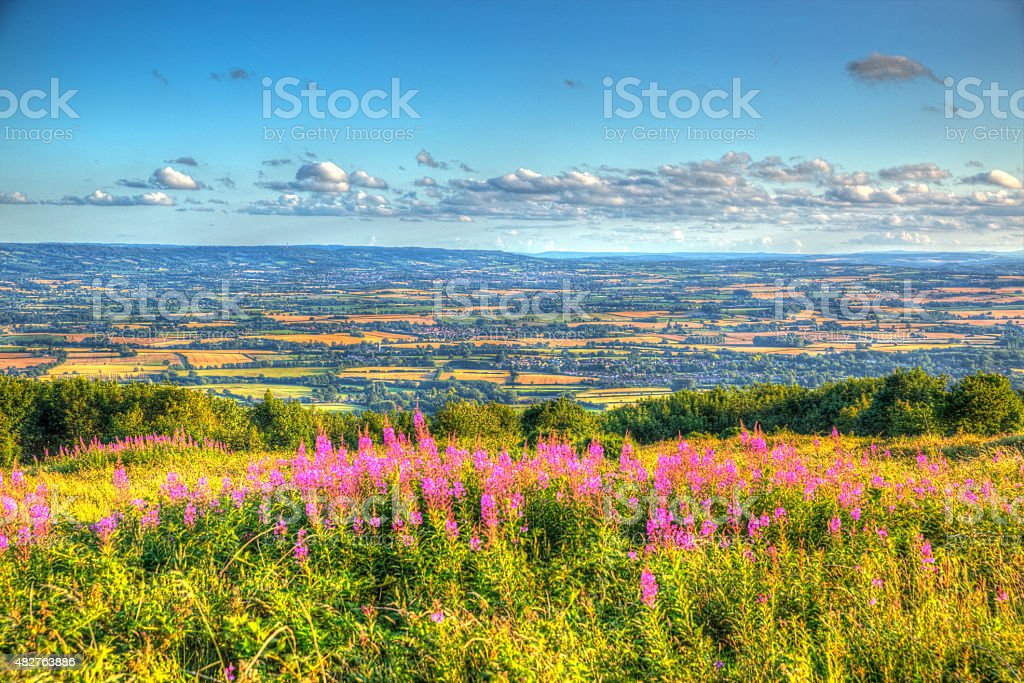 West country views from Quantocks Somerset to Blackdown Hills HDR stock photo