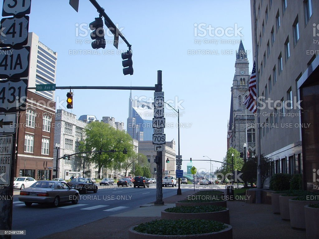 West End Avenue in Nashville, TN in Spring. stock photo