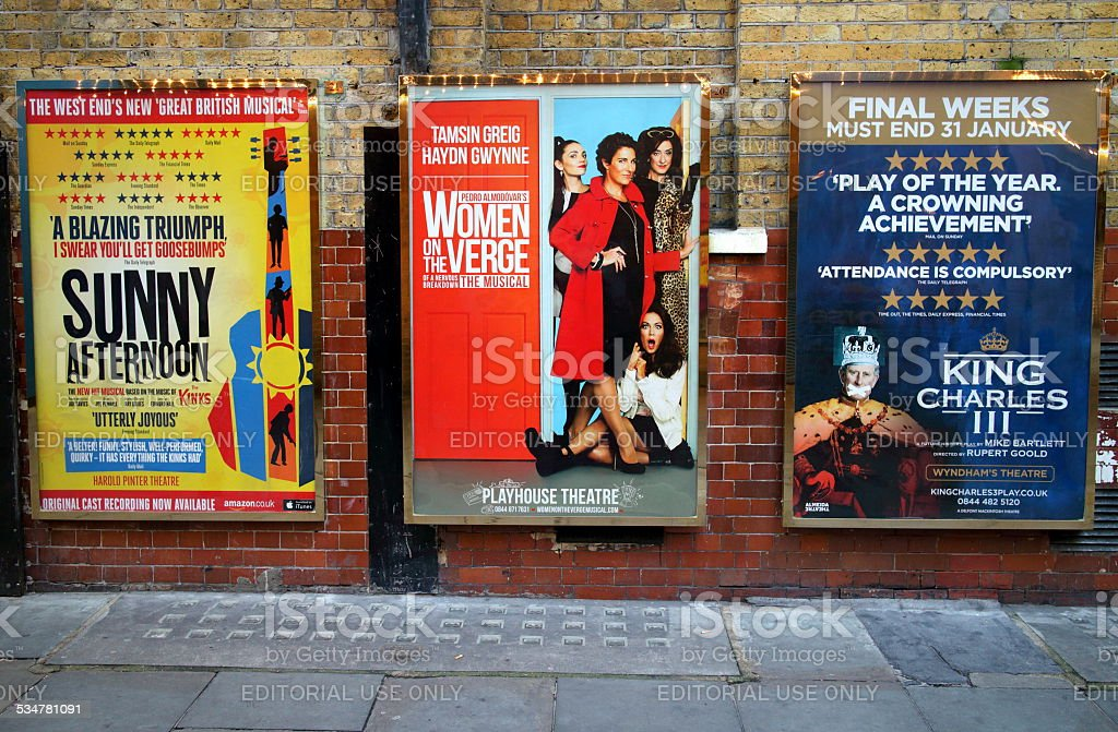 West End Theatre Posters stock photo