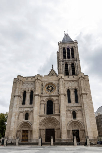 West facade of the Basilica Cathedral of Saint Denis stock photo