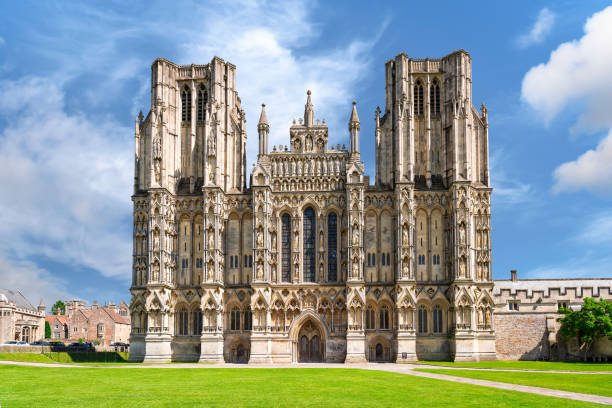 West front of Wells Cathedral stock photo