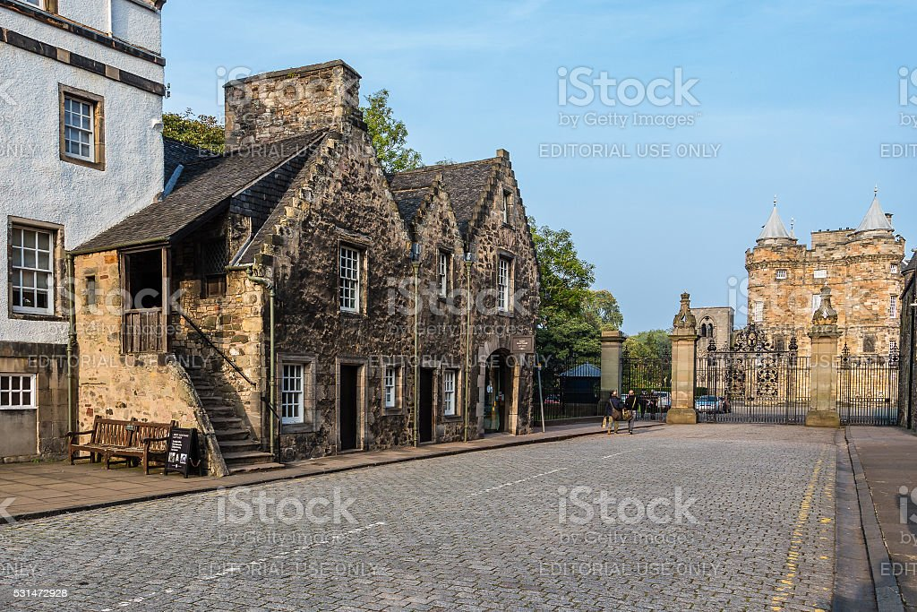 West gate entrance to the Palace of Holyroodhouse in Edinburgh stock photo
