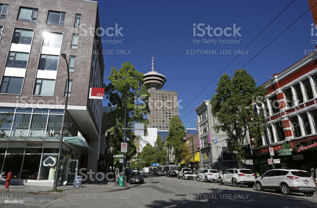 West Hastings Street, Vancouver, British Columbia, Canada in Autumn stock photo
