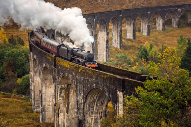 West Highland Scotland The Glenfinnan Viaduct is a railway viaduct on the West Highland Line in Glenfinnan, Inverness-shire, Scotland. scottish highlands stock pictures, royalty-free photos & images