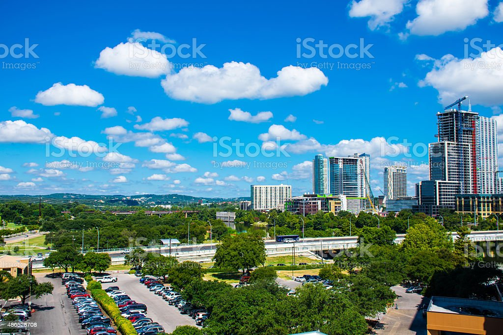 West Hills South of River Austin Texas Partly Cloudy stock photo