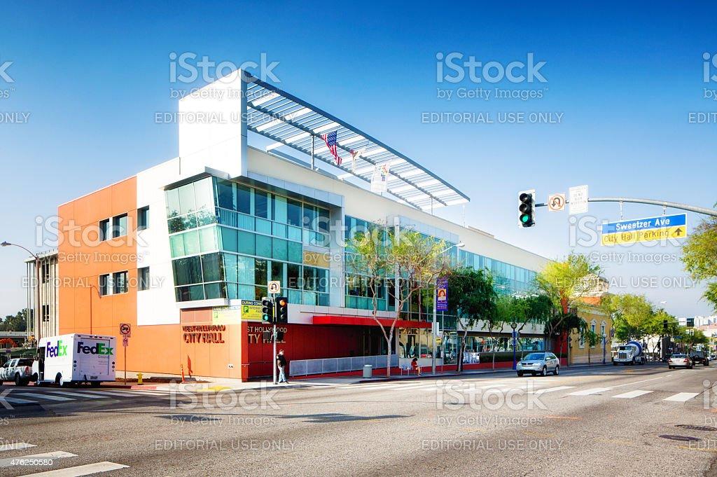 West Hollywood City Hall on Santa Monica Boulevard LA USA stock photo