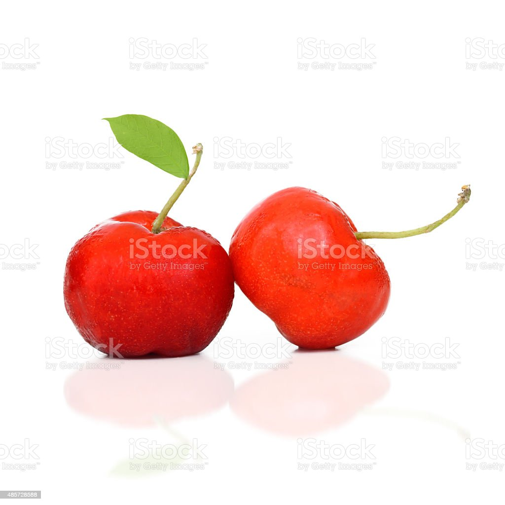 West Indian Cherry with leaf isolate on white background stock photo