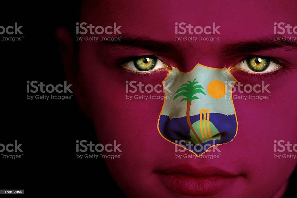 West Indies Flag Boy Royalty Free Stock Photo