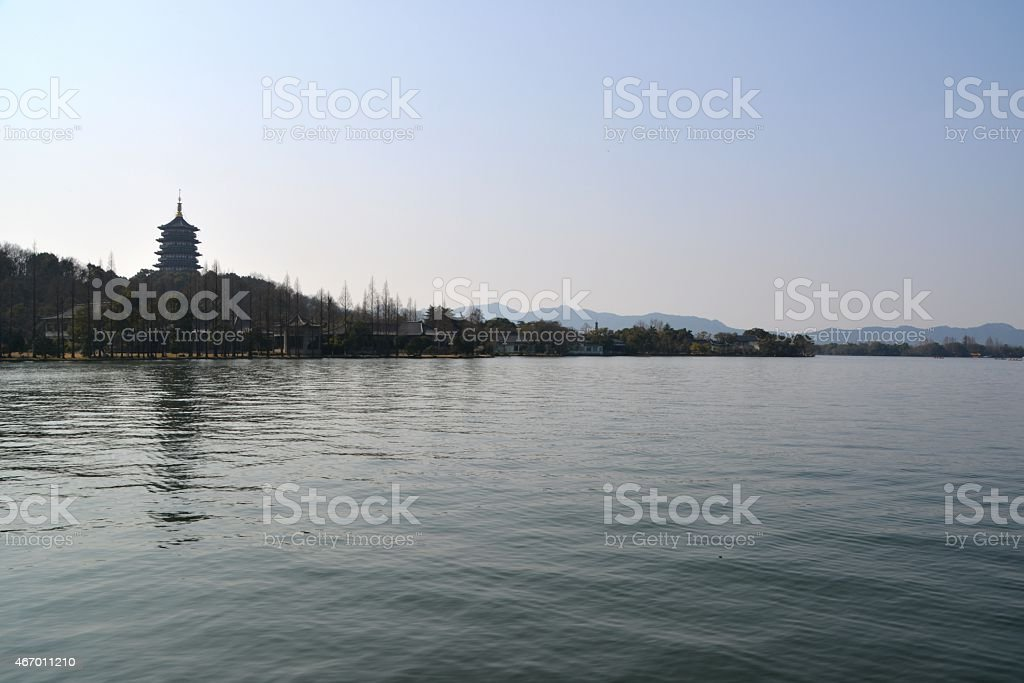 View of the Leifeng Pagoda , on Sunset Hill south of the idyllic West...