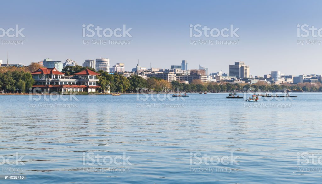West Lake coast, panoramic landscape stock photo
