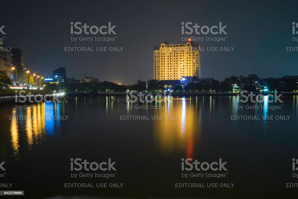 Hanoi, Vietnam - Sep 2, 2015: West Lake view at night with Sheraton 5 star hotel stock photo