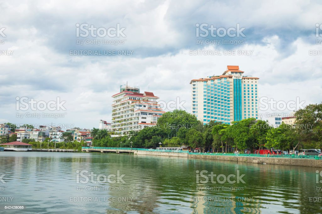 Hanoi, Vietnam - Aug 16, 2015: West Lake view with Thanh Nien street, Sofitel 5 star hotel. Hanoi cityscape in clear day stock photo
