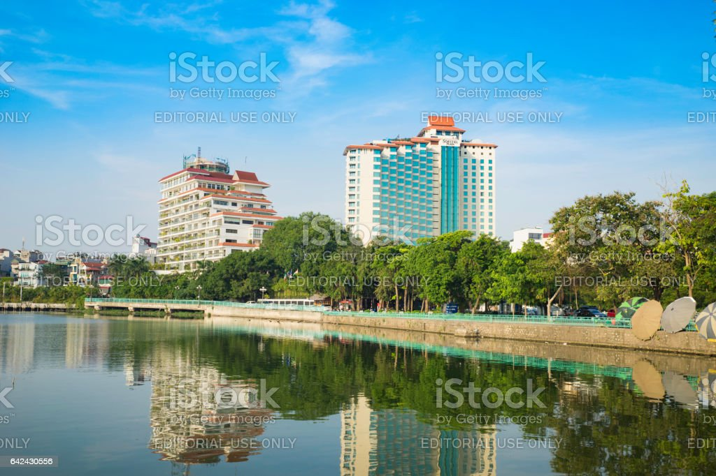 Hanoi, Vietnam - Aug 23, 2015: West Lake view with Thanh Nien street, Sofitel 5 star hotel. Hanoi cityscape in clear day stock photo