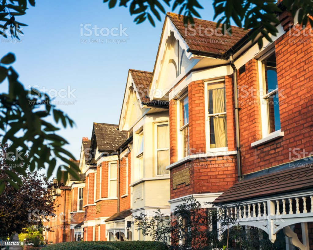 West London terraced houses stock photo
