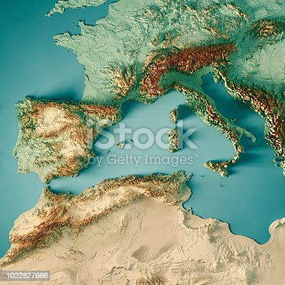 3D Render of a Topographic Map of the western Mediterranean Sea region. All source data is in the public domain. Color texture and Rivers: Made with Natural Earth.  http://www.naturalearthdata.com/downloads/10m-raster-data/10m-cross-blend-hypso/ http://www.naturalearthdata.com/downloads/10m-physical-vectors/ Relief texture: SRTM data courtesy of USGS. URL of source image:  https://e4ftl01.cr.usgs.gov//MODV6_Dal_D/SRTM/SRTMGL1.003/2000.02.11/ Water texture: HIU World Water Body Limits: http://geonode.state.gov/layers/?limit=100&offset=0&title__icontains=World%20Water%20Body%20Limits%20Detailed%202017Mar30