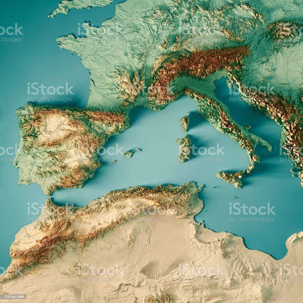 Mittelmeer West 3D-Render Topographische Karte Farbe – Foto