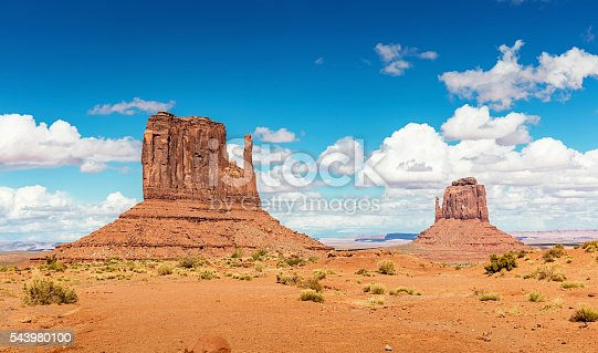 Scenic view to the famous West Mitten Butte and Merrick Butte under beautiful summer sky. Monument Valley, Arizona, USA.