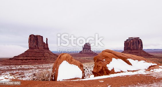 West Mitten Butte, East Mitten Butte, and Merrick Butte at Monument Valley Navajo Tribal Park
