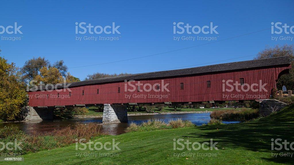 West Montrose covered bridge (Kissing Bridge), Waterloo, Ontario, Canada stock photo