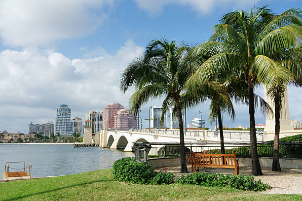 West Palm Beach cityscape viewed across Intracoastal Waterway stock photo