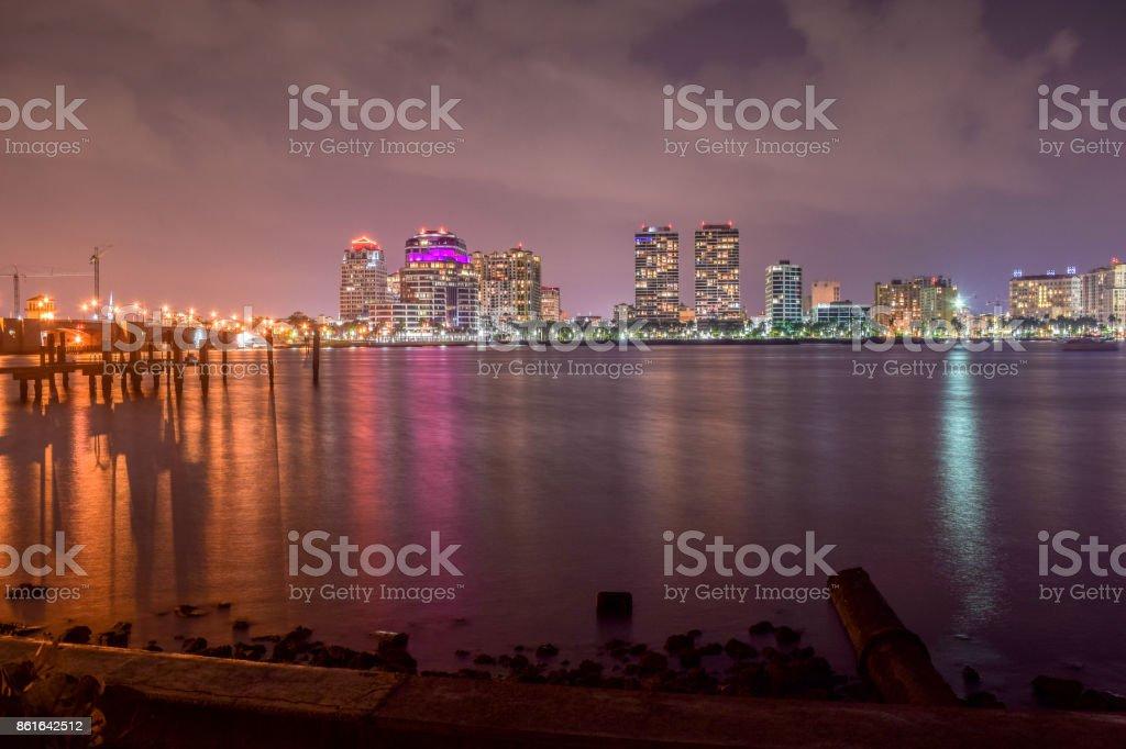West Palm Beach florida skyline at night stock photo