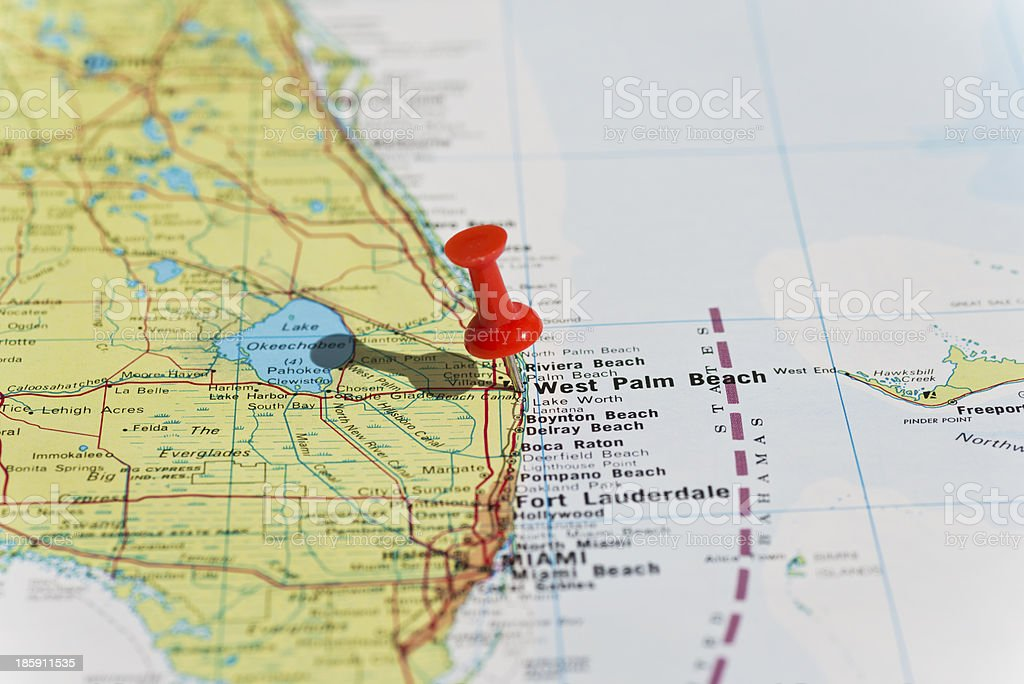 West Palm Beach Marked on Map with Red Pushpin stock photo