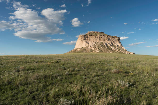 West Pawnee Butte on the Pawnee National Grassland in Northeastern Colorado. stock photo