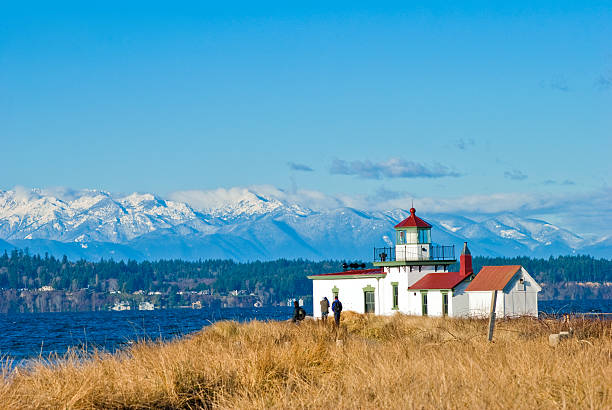West Point Lighthouse at Discovery Park in Seattle, WA stock photo
