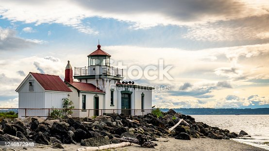 615497916 istock photo West Point Lighthouse at Discovery Park in Seattle, Washington. USA. 1246872948